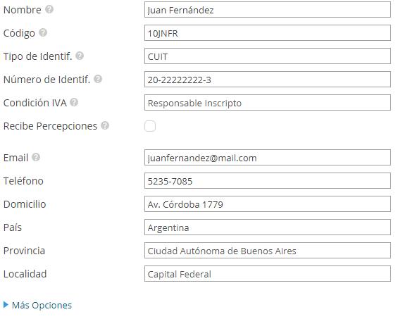 Información completa de un nuevo cliente en Xubio Argentina